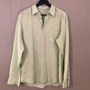 J. Crew Linen Mint Green Button Front Shirt Long